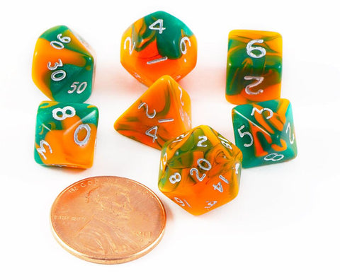 mini toxic dice orange green