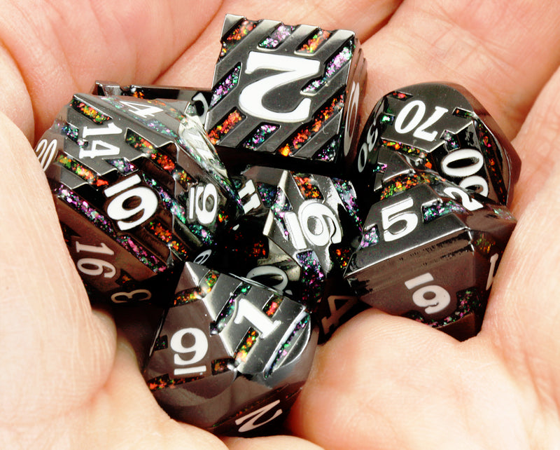 Planar Infusion Dice (Black Nickel And Prismatic Glitter) |  Metal RPG Role Playing Game Dice