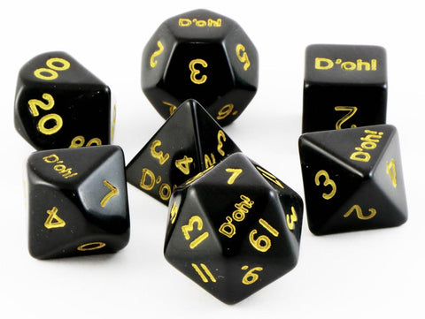 D'oh! Dice Opaque Black