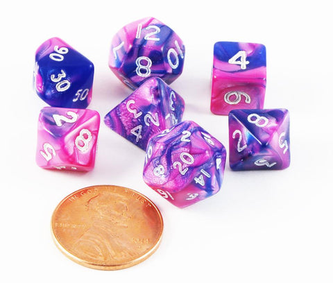 mini toxic dice pink blue
