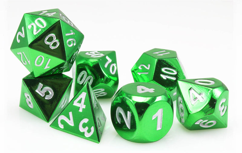 Aluminum dice electroplated green