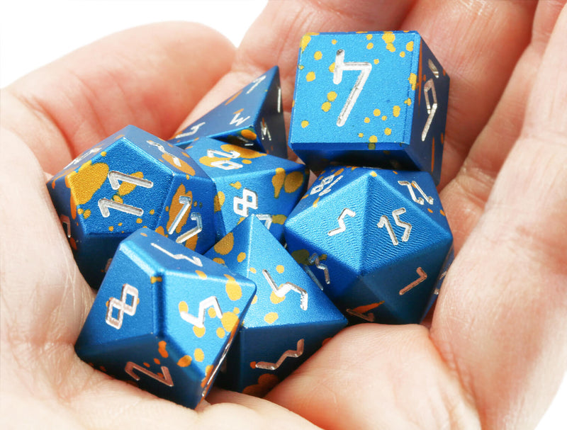 Aluminum D&D Dice Blue Gold 2