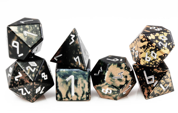 Aluminum D&D Dice Black Gold