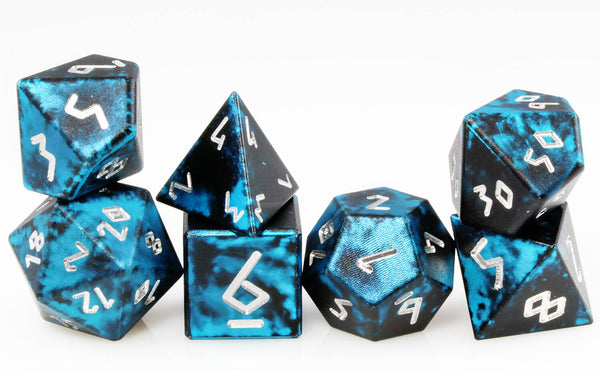 Aluminum D&D Dice Black Blue