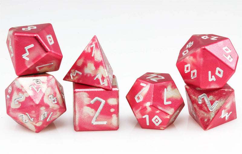 Aluminum D&D Dice Red Silver