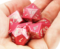 Aluminum D&D Dice Red Silver 2