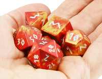 Aluminum D&D Dice Red Gold 2