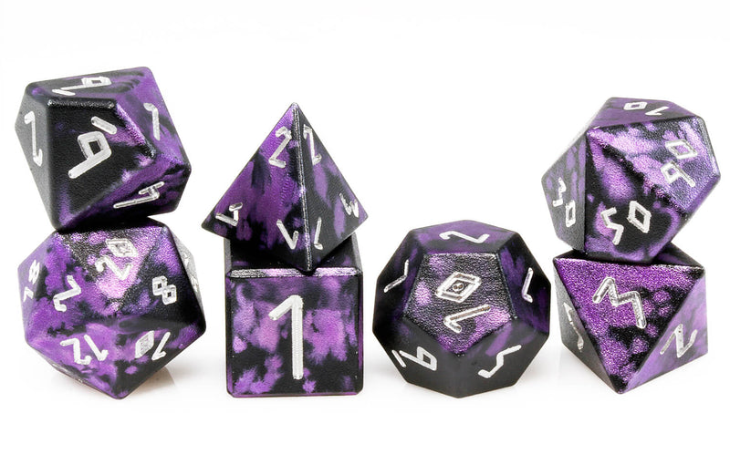 Aluminum D&D Dice Black Purple