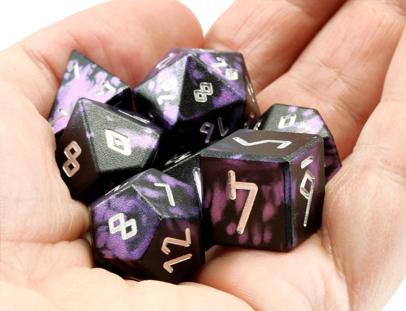 Aluminum D&D Dice Black Purple 2
