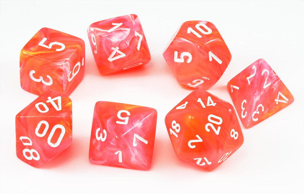 Chessex Lab Dice (Festive Dahlia/White) RPG Role Playing ...