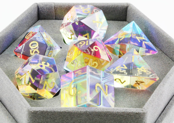 Dichroic Glass Dice Rainbow