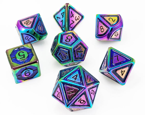 Metal dice rainbow blue