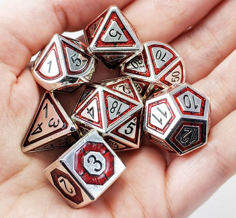 Metal Assassin Dice Silver Blood Red 2