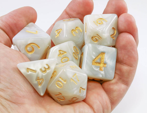 Giant D&D dice Pearl White