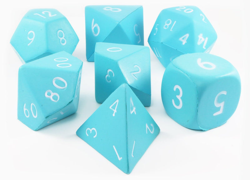 Giant Foam RPG Dice (Teal) | 7-Set Squishy Dice