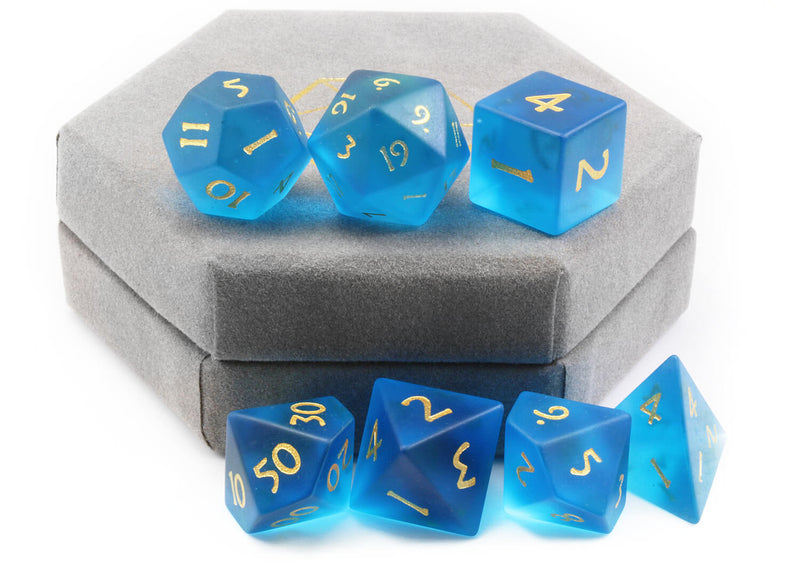 Frosted Blue Glass Dice 3