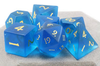 Frosted Blue Glass Dice 2