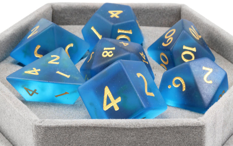 Frosted Blue Glass Dice