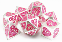 Sweetheart Dice (Brushed Silver And Pink Glitter) | Metal Heart Role Playing Game Dice