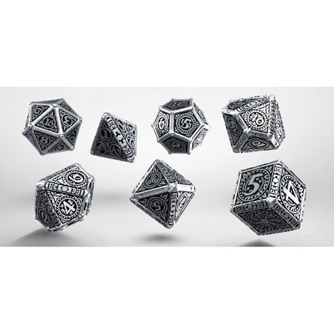 7 Pieces Set Q-Workshop Runic Dice Set Black with Glow-in-the-Dark Etches