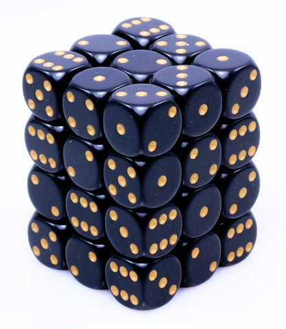 Mini d6 Dice Black Gold