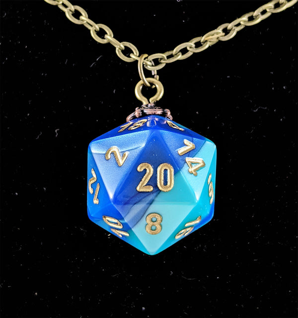 RPG Dice Necklace D20 Gemini Blue Teal