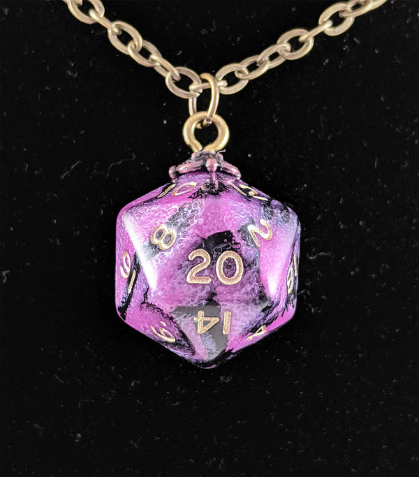 d20 Jewelry Neclace Toxic Pink Black