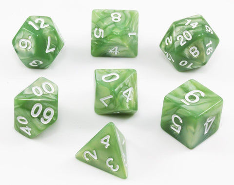 Green Dungeons and Dragons dice
