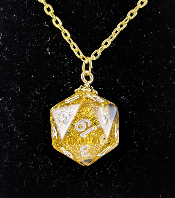 D20 Necklace With Gold Hue Chain (Glitter Gold D20)