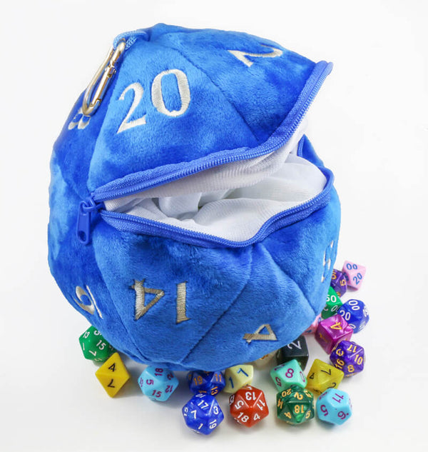 Plush d20 dice bag blue
