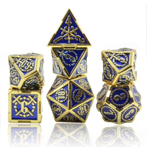 Swordmaster Dice (Bright Gold With Blue) |  Metal RPG Role Playing Game Dice