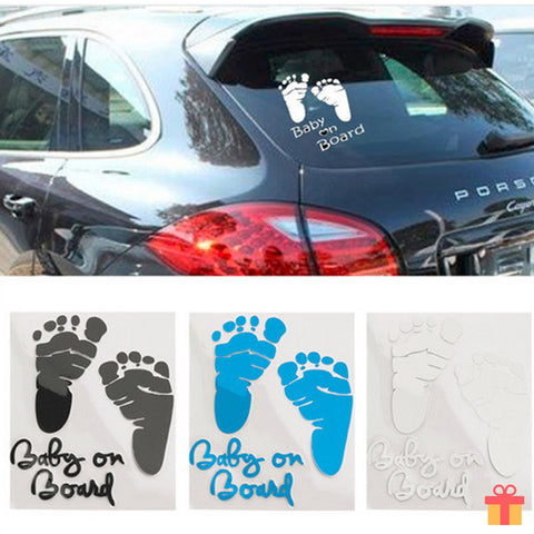 Baby on Board Footprints Reflective Car Sticker