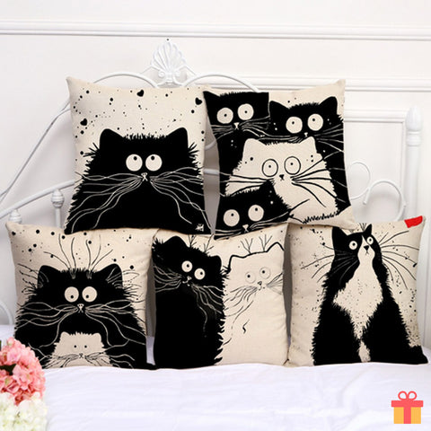 Black Kitty Cushion Cover