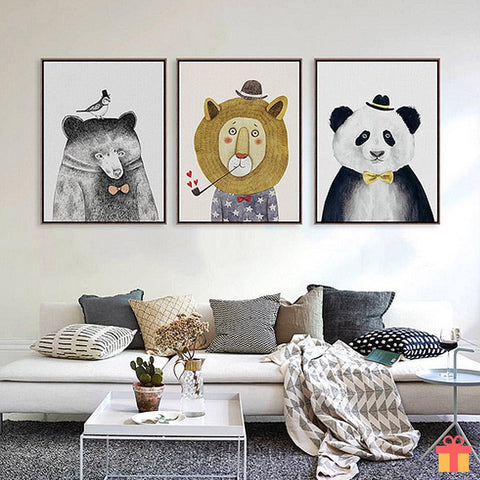 Cartoon Animals Watercolor Canvas Painting