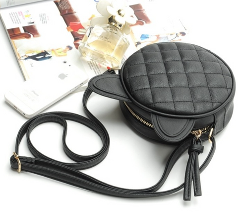 Cat Quilted Leather Sling Bag