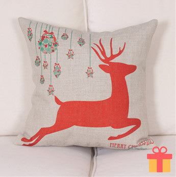 Christmas Theme Cushion Cover Red Reindeer Design