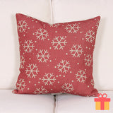 Christmas Theme Cushion Cover Red Snow Flake Design