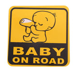 Cute-Baby-On-Road-Vinyl-Car-Stickers-Baby-Sucking-Bottle-Yellow