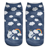 Cute Unicorn Socks Rainbow Clouds Design