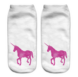 Cute Unicorn Socks White Pink Design