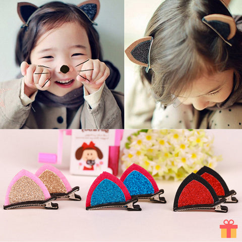 Double Cat Ear Sequin Baby Hair Clip
