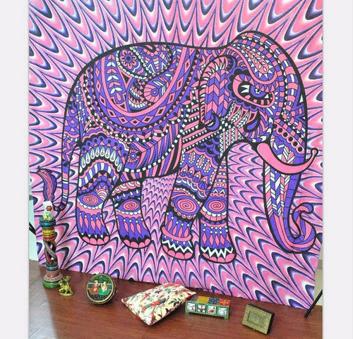 Elephant-Wall-Tapestry-Pink