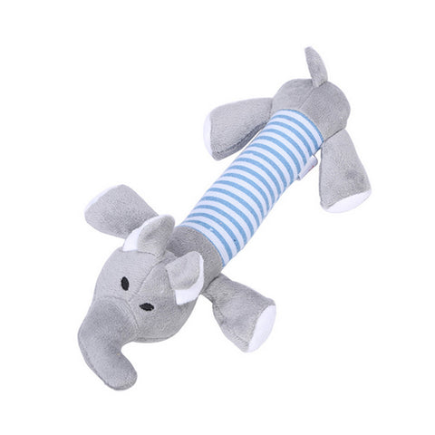 Pet Chewy Squeaky Plush Toy Dog Grey Color