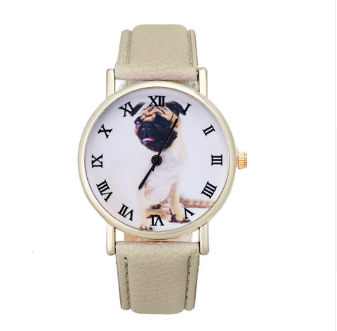 Pug Leather Watch - Beige for Dog Lovers