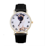Pug Leather Watch - Black for Dog Lovers