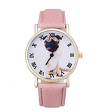 Pug Leather Watch - Pink for Dog Lovers