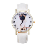 Pug Leather Watch - Snow White for Dog Lovers