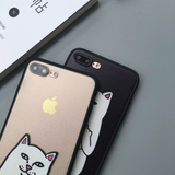 Middle Finger Cat Hard iPhone Cover - FREE