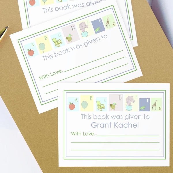 Custom Bookplates - Set of 12 Personalized ABC Book Labels