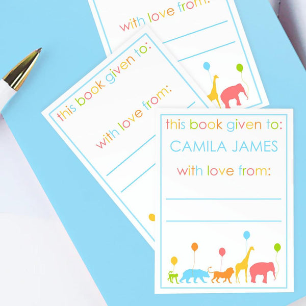 Custom Bookplates - Set of 12 Personalized Animal Parade Book Labels